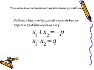 Внимательно посмотрите на заполненную таблицу Найдите связь между суммой и пр