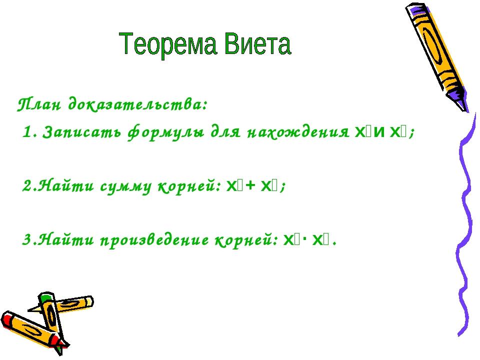 План доказательства: 1. Записать формулы для нахождения x₁и x₂; 2.Найти сумм...