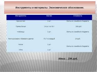 Инструменты и материалы. Экономическое обоснование. Итог : 294 руб. Инструме
