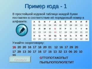 В простейшей кодовой таблице каждой букве поставлен в соответствие её порядко