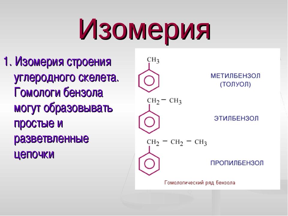 Изомерия 1. Изомерия строения углеродного скелета. Гомологи бензола могут обр...