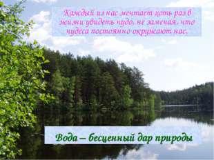 Вода – бесценный дар природы Каждый из нас мечтает хоть раз в жизни увидеть ч