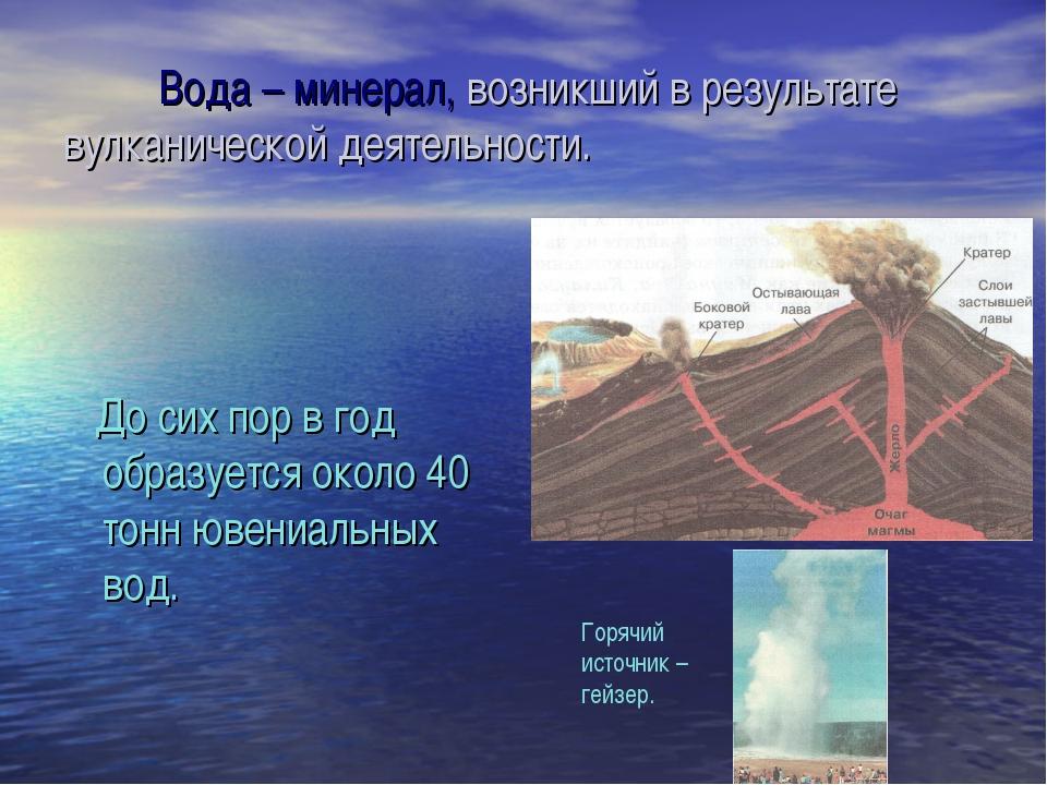Вода – минерал, возникший в результате вулканической деятельности. До сих по...