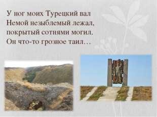 У ног моих Турецкий вал Немой незыблемый лежал, покрытый сотнями могил. Он чт