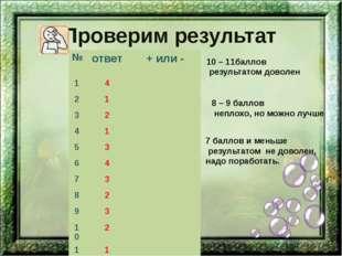Проверим результат 10 – 11баллов результатом доволен 8 – 9 баллов неплохо, но