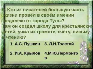 9. Кто из писателей большую часть жизни провёл в своём имении недалеко от гор