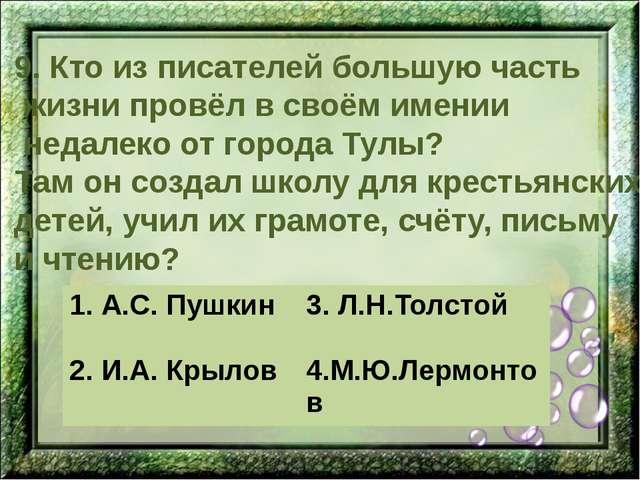 9. Кто из писателей большую часть жизни провёл в своём имении недалеко от гор...