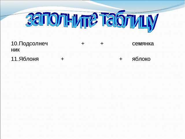 10.Подсолнечник++семянка 11.Яблоня++яблоко