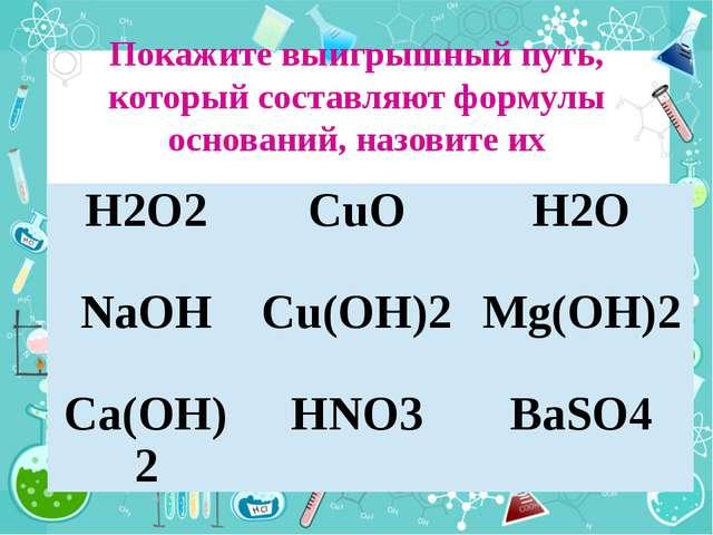 Покажите выигрышный путь, который составляют формулы оснований, назовите их Н...