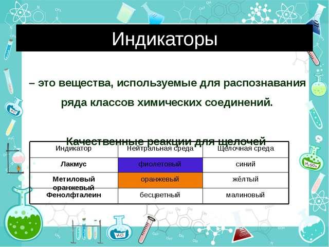 Индикаторы – это вещества, используемые для распознавания ряда классов химиче...