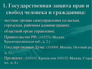 1. Государственная защита прав и свобод человека и гражданина: местные органы
