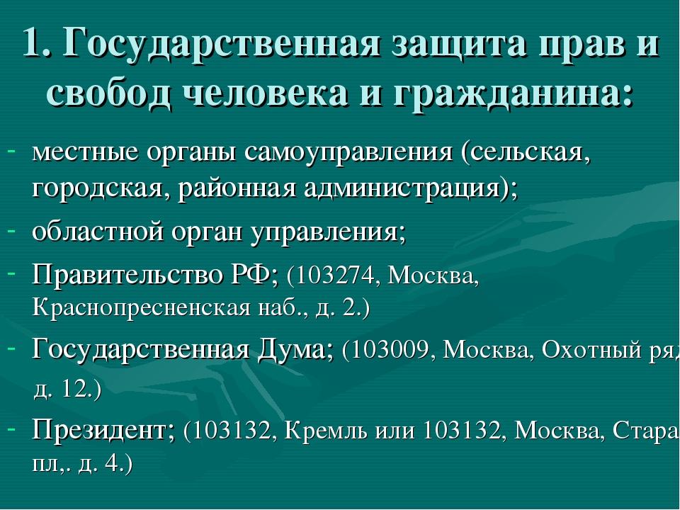 1. Государственная защита прав и свобод человека и гражданина: местные органы...