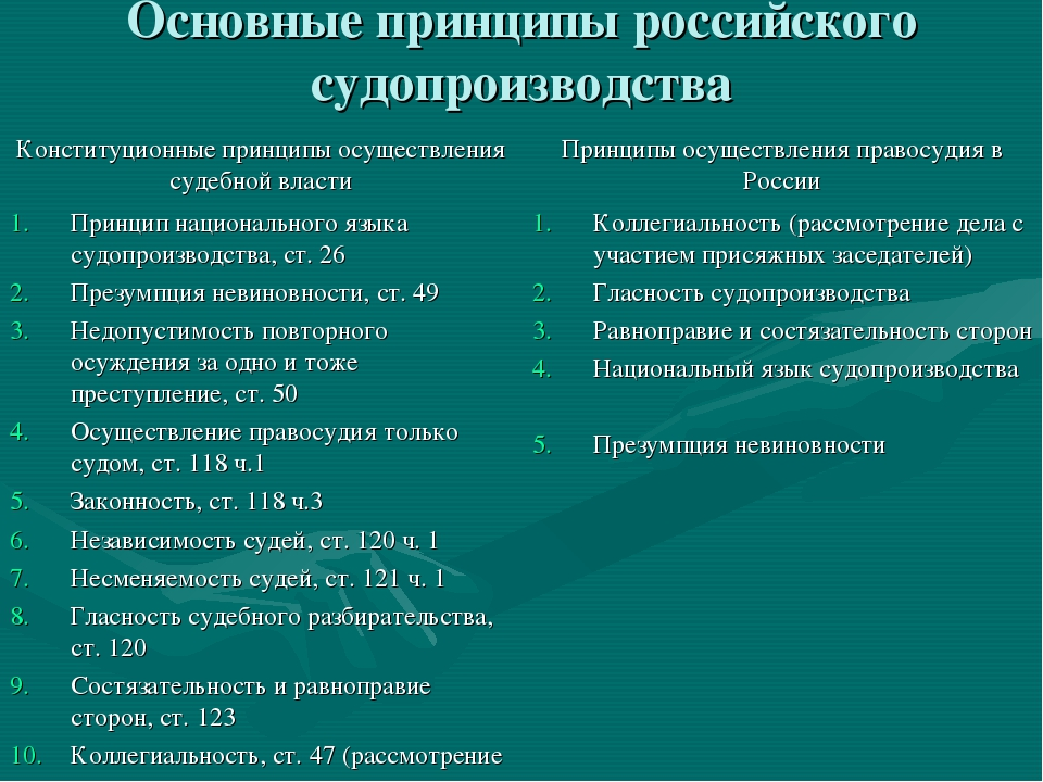 Основные принципы российского судопроизводства