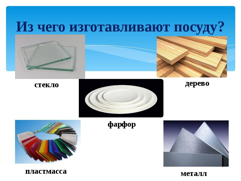 Из чего изготавливают посуду? стекло дерево фарфор пластмасса металл
