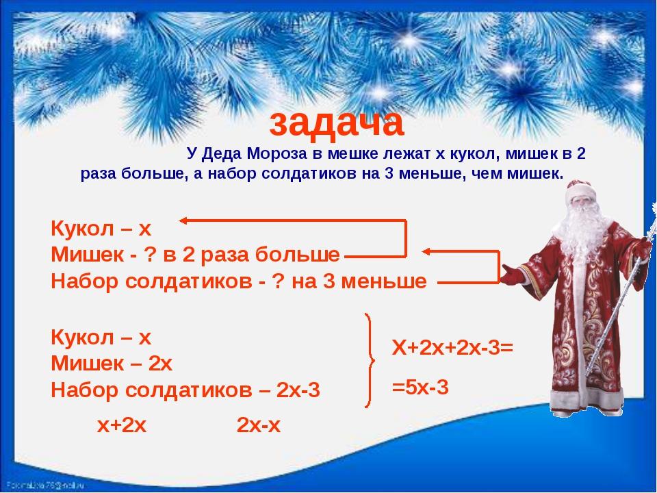 задача У Деда Мороза в мешке лежат x кукол, мишек в 2 раза больше, а набор...