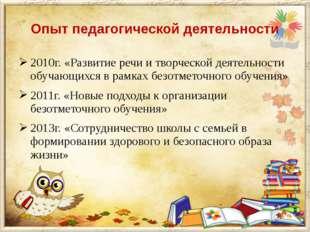 Опыт педагогической деятельности 2010г. «Развитие речи и творческой деятельно