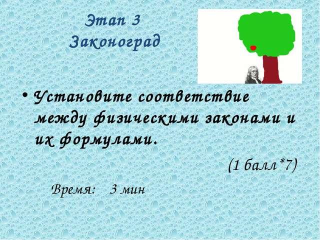 Этап 3 Законоград Установите соответствие между физическими законами и их фор...