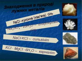 NaCl –кухонна (кам'яна) сіль Na2SO4 · 10H2O – глауберова сіль NaCl·KCl – силь
