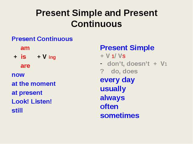 Present Simple and Present Continuous Present Continuous am + is + V ing are...