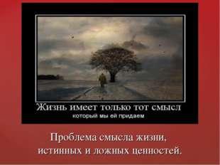 Проблема смысла жизни, истинных и ложных ценностей.