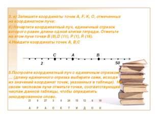 3. а) Запишите координаты точек А, F, K, О, отмеченных на координатном луче: