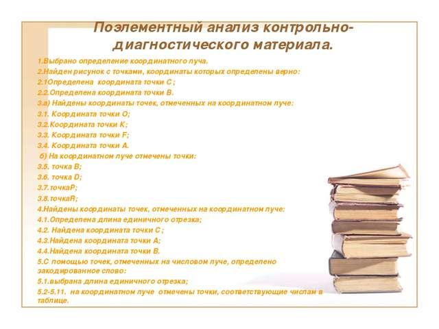 Поэлементный анализ контрольно-диагностического материала. 1.Выбрано определе...