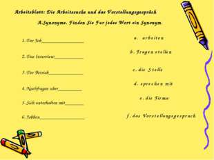 Arbeitsblatt: Die Arbeitssuche und das Vorstellungsgespräch 1. Der Job_______