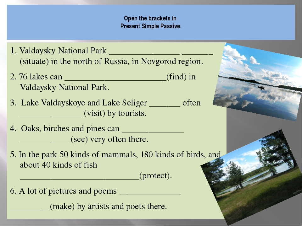 Open the brackets in Present Simple Passive. 1. Valdaysky National Park ____...