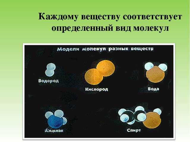 Каждому веществу соответствует определенный вид молекул