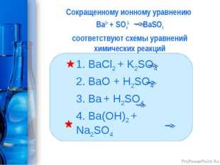 Сокращенному ионному уравнению Bа2+ + SО42- BаSО4 соответствуют схемы уравнен
