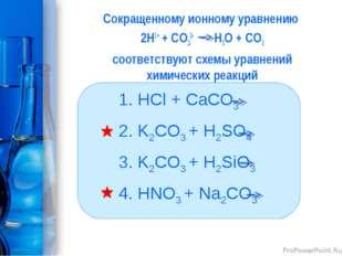 Сокращенному ионному уравнению 2H1+ + CО32- H2O + CО2 соответствуют схемы ура