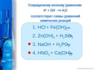 Сокращенному ионному уравнению Н1+ + ОН1- H2O соответствуют схемы уравнений х