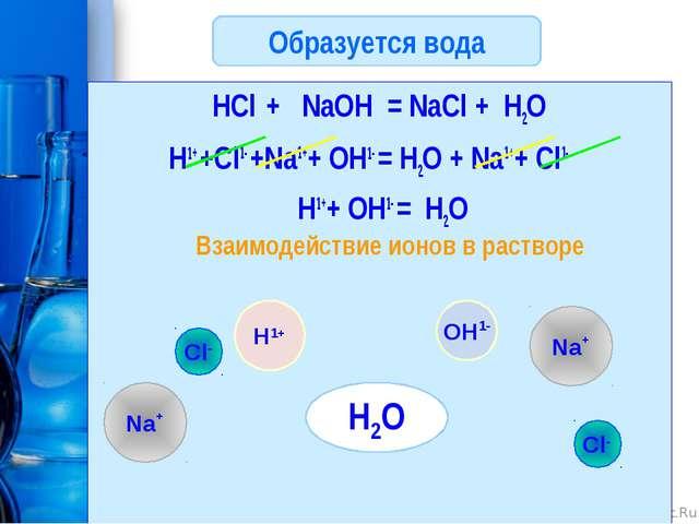 Образуется вода HCl + NaOH = NaCl + H2O H1+ +Cl1- +Na1++ OH1- = H2O + Na1++ C...