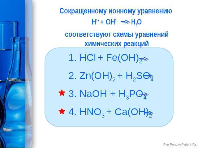 Сокращенному ионному уравнению Н1+ + ОН1- H2O соответствуют схемы уравнений х...