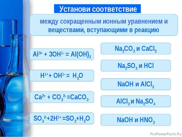 Установи соответствие между сокращенным ионным уравнением и веществами, всту...