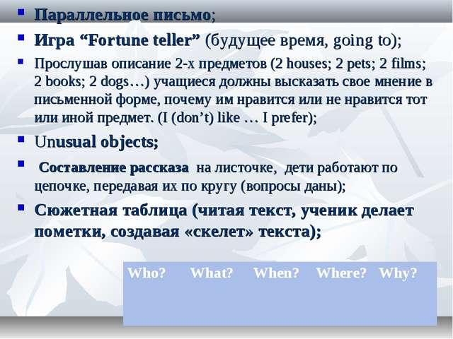 """Параллельное письмо; Игра """"Fortune teller"""" (будущее время, going to); Прослуш..."""