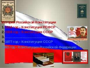История Российской Конституции 1918 год – Конституция РСФСР 1924 год – Консти