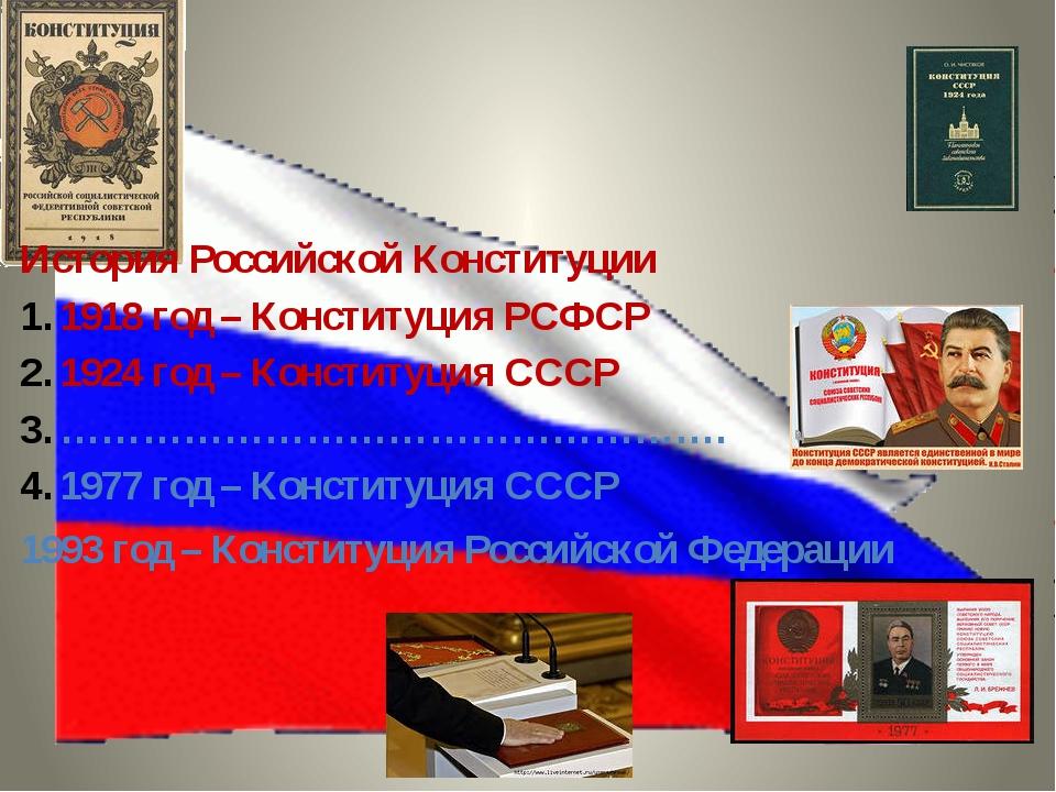 История Российской Конституции 1918 год – Конституция РСФСР 1924 год – Консти...