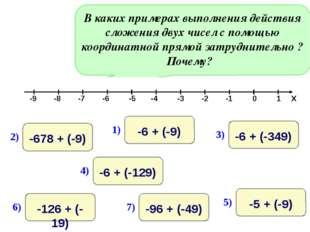 В каких примерах выполнения действия сложения двух чисел с помощью координатн