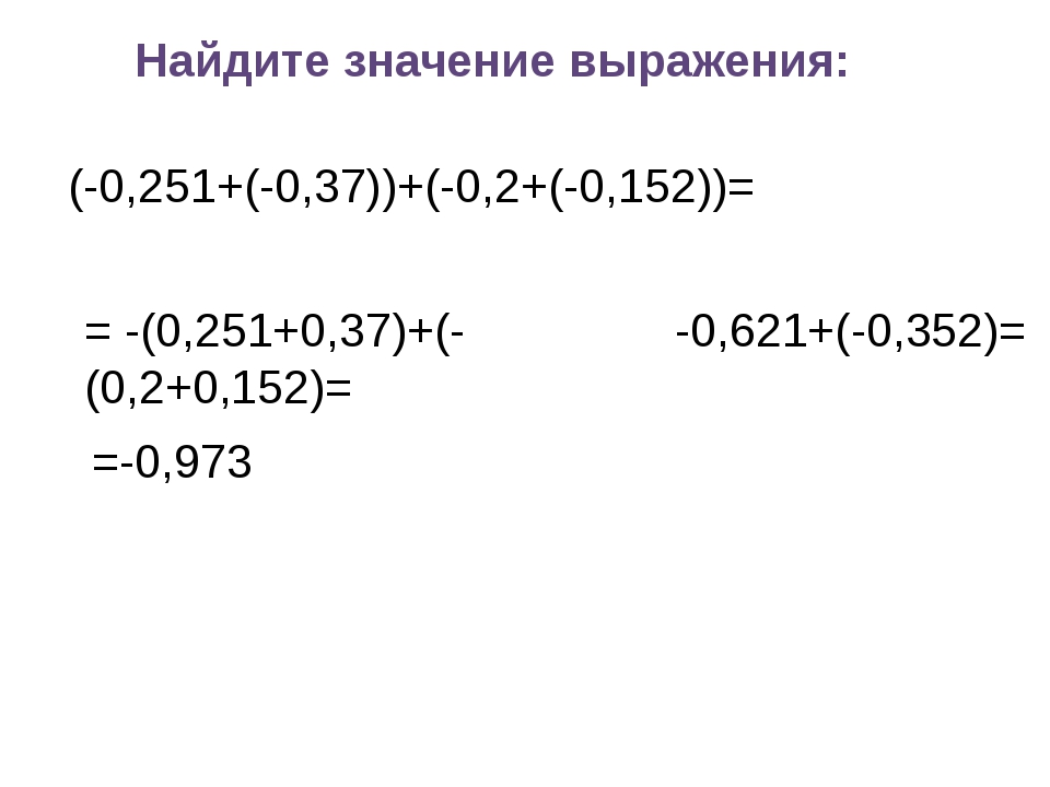 Найдите значение выражения: (-0,251+(-0,37))+(-0,2+(-0,152))= = -(0,251+0,37)...