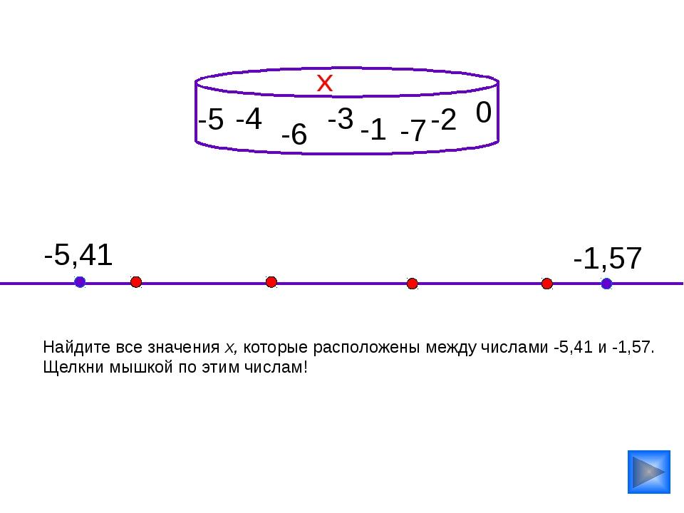-4 Найдите все значения х, которые расположены между числами -5,41 и -1,57....