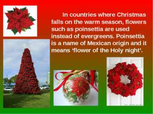 In countries where Christmas falls on the warm season, flowers such as poins