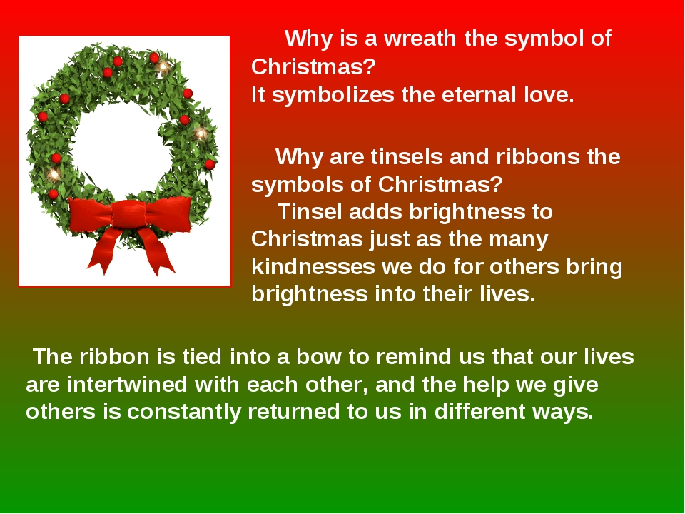 Why is a wreath the symbol of Christmas? It symbolizes the eternal love. Why...