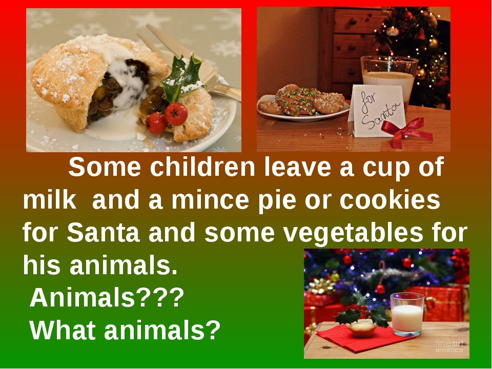 Some children leave a cup of milk and a mince pie or cookies for Santa and s...