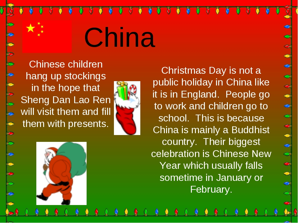 Christmas Day is not a public holiday in China like it is in England. People...