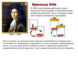 В 1668 году итальянский биолог и врач Франческо Реди подошёл к проблеме возни