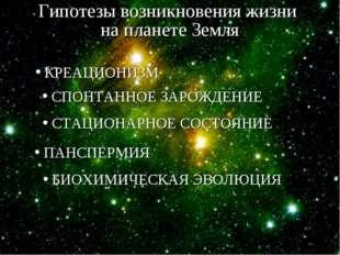 Гипотезы возникновения жизни на планете Земля КРЕАЦИОНИЗМ СПОНТАННОЕ ЗАРОЖДЕН