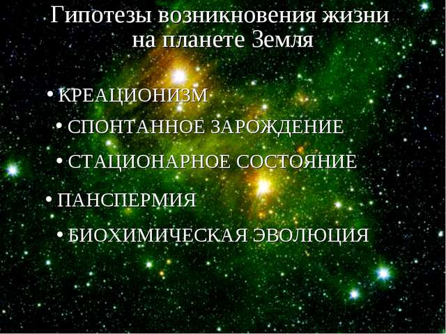 Гипотезы возникновения жизни на планете Земля КРЕАЦИОНИЗМ СПОНТАННОЕ ЗАРОЖДЕН...
