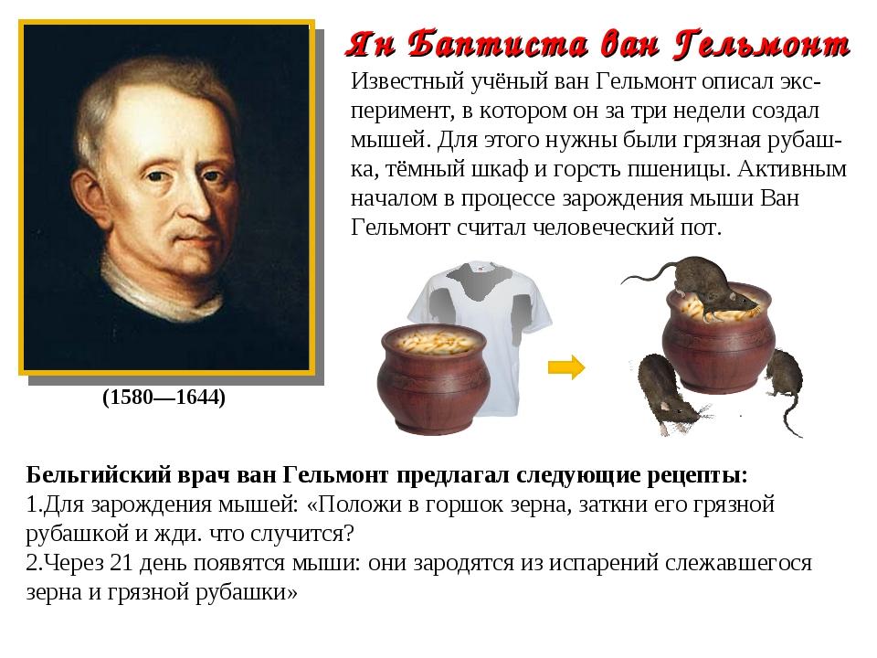 Бельгийский врач ван Гельмонт предлагал следующие рецепты: Для зарождения мыш...