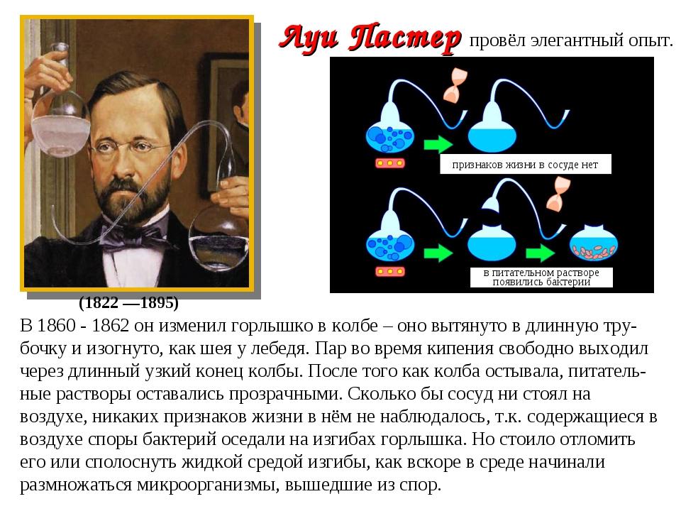 В 1860 - 1862 он изменил горлышко в колбе – оно вытянуто в длинную тру-бочку...